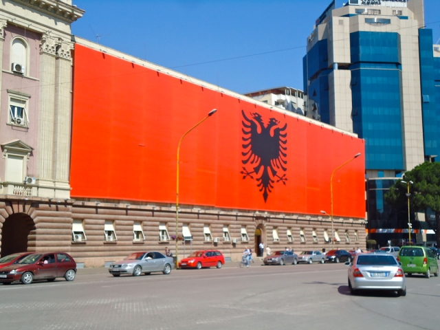 Albanian flag on the Parliament building