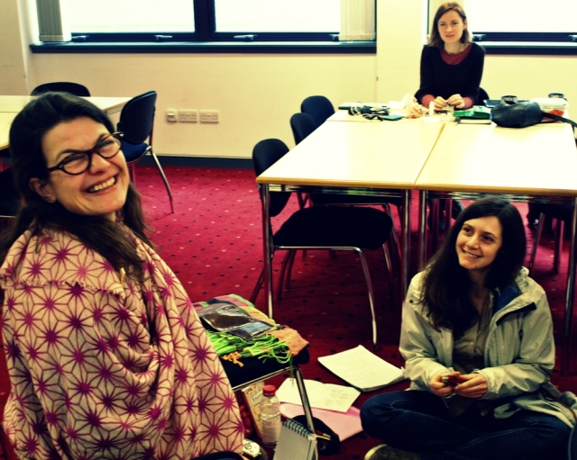 Tanja ostojic, Fabia brustia and Marta Barche at the workshop at the university of Aberdeen. Photo by filip Barche