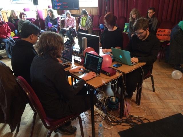 Suk-Jun Kim, Bea Dawkins, Mark James Dunmore and Simon Hellewell live-coding