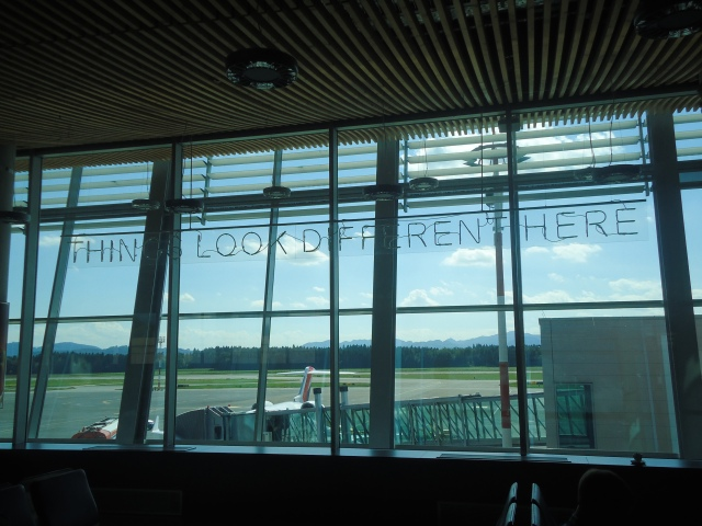 Jasmina's neon light installation at the Ljubljana Airport